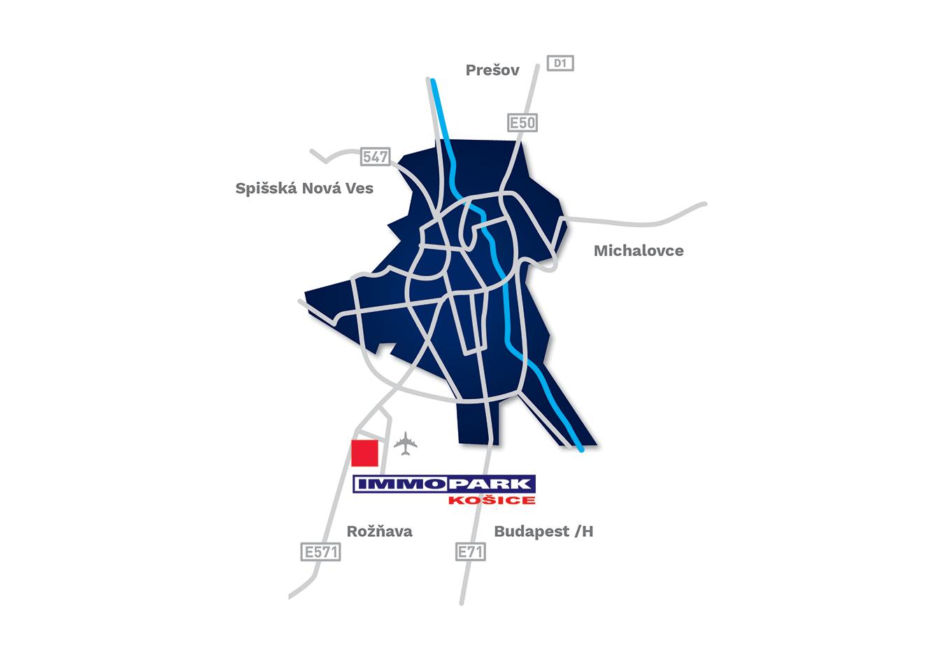 Globální mapa - Immopark Košice