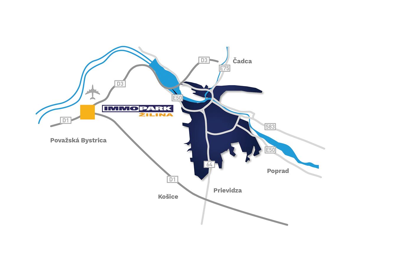 Globální mapa - Immopark Žilina